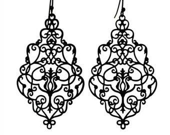 Black Lace Filigree Earrings Black Rustic Filigree Earrings | Vamp Noir Boho Festival Earrings | Lady Noir Goth Filigree Earrings