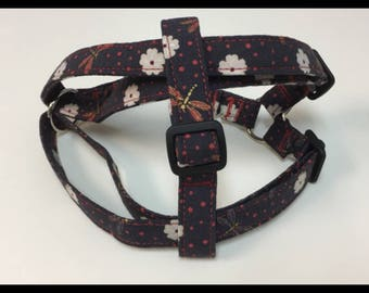 Ready to ship- Dragonfly Print Step in Harness
