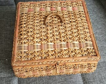 Vintage Braided Wicker Sewing Basket good condition