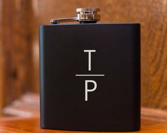 Laser Etched Flask -Personalized Monogram Black Hip Flask - In Gift Box - Groomsman Gift Wedding Party Gift - Best Man Gift - Black Flask