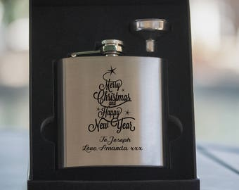 Laser Etched Flask -Personalized Silver Hip Flask with Funnel - In Gift Box - Christmas Flask - Drinking Gift - Stocking Stuffer