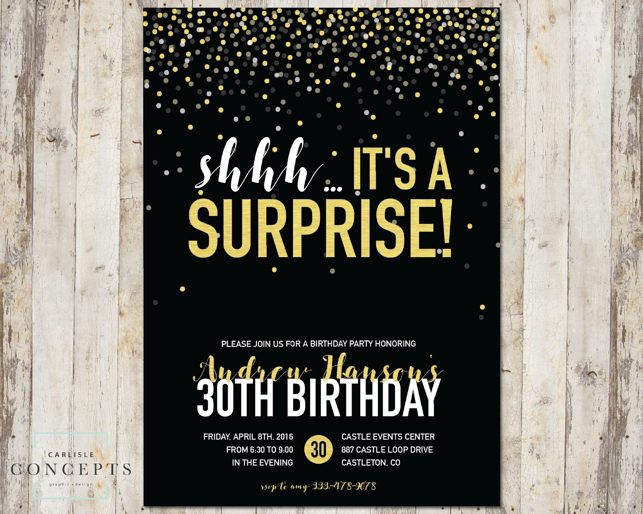 Confetti Surprise Birthday Party Invitation | Champagne Gold Foil ...