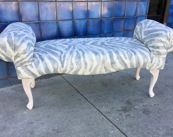 Upholstered Bench Window Seat Cabriole Leg Scrolled Arms  P Kaufmann Watercolor Gray Tiger Stripe Restored