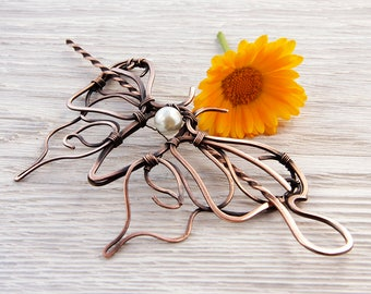 Hair Pins - wire jewelry - gift for her - handmade jewelry - rustic romantic - ooak jewelry - romantic style - wire wrapped - hair stick