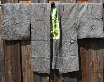 Vintage Haori: Brown Chirimen Kimono Jacket
