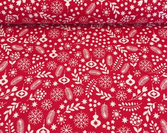 Red and White Christmas Floral Cotton Fabric, Quilt and Patchwork Fabric - Fat Quarter