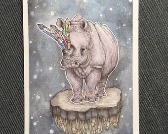 Crystal Horned Rhino Print 5x7 on Velvet Fine Art Paper