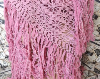 Crochet Shawl Lace Shawl Pink Shawl Crochet Wrap Shabby Chic Shawl Cotton Shawl Crochet Fringe Shawl Crochet Scarf Wedding Shawl