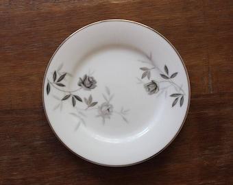 Vintage Noritake Rosamor Bread Plates Set of 12 c50s-70 Grey Roses Platinum