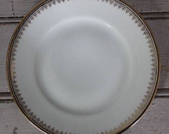 Vintage Gold Leaf & White Bone China Fine Dining Set Bread Plates Set of 10