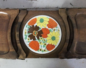 Vintage 1960s 1970s Expandable Wooden Floral Trivet Serving Platter Cheese Tray