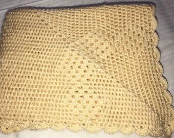 Crochet baby blanket throw unique yellow baby throw handmade newborn or christening gift  pram cot bassinet baby bedding gift Etsy Australia