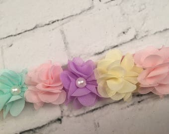 Pastel Flower Stretchy Headband, Pearl Headband, Chiffon Flowers, Flower Girl Headband, Girl Headband, Accessories, Hair Band