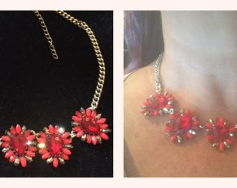 Upcycled Red Flower Choker