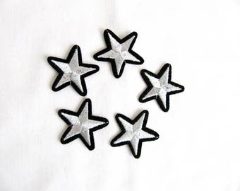 Stars Aviation tag grade custom Iron On Embroidered Patches Applique Silver Star 5 Pcs.