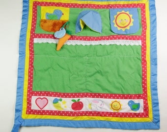 Vintage Playskool Fold 'N Go Activity Quilt Tummy Time Baby Blanket 1985