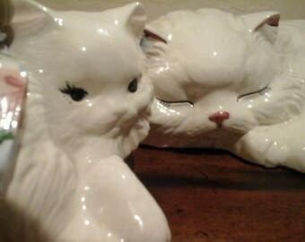 Ceramic Cats Pair of Ceramic Cats One of the two is a Dilley's Cat