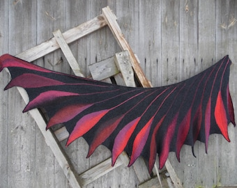 Hand knit shawl wing shape,Hand knit art shawl, hand knit shawl,Wearable Art Wrap. Unique Gift,Hand Knitted Wingspan,shawl Dreambird
