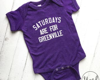 Saturdays are for Greenville (Block Lettering) Baby Bodysuit | Purple