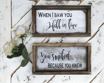 When i saw you / love / anniversary / love quotes / quotes /home decor / wood signs / anniversary / wife / husband