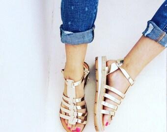Gold Greek Sandals, Gladiator sandals, Platform Sandals, Leather Sandals,Gold sandals, Ancient Greek Sandals, Strappy Sandals, Women Sandals
