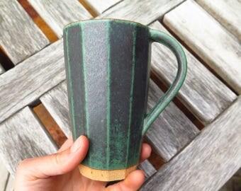 Tall Faceted Mug or Tumbler in Metallic Green SVEN Ceramics Presidio Line, Handmade Pottery, Ceramic Mug, Wedding Registry, Gift