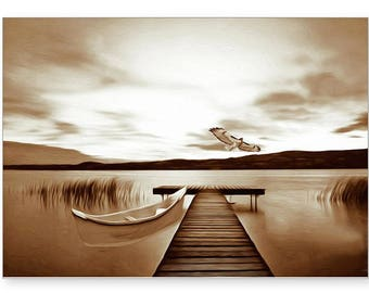 Photo Greeting Card, Photo Note Card, Hawk Flying, Canoe on Lake, All Occasion Card, Sepia Tone, Handmade Card, 5x7 Blank Card, Fine Art