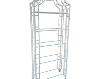 Faux Bamboo Etagere with Glass Shelves