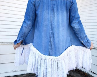 Denim + Lace - REVAMP - Lace Trim Denim Top - Repurposed Clothing - Size SMALL