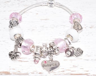Authentic Pandora Bracelet - Sterling Silver - with European Beads Baby Girl New Mom Pink Pearl Sterling Silver Gift