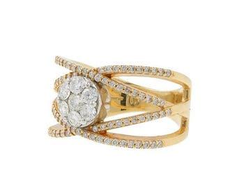 Super Sale Ladies Vintage Estate 14K Yellow Gold Rosette Cluster Floral Diamond Ring Band - 1.58CTW