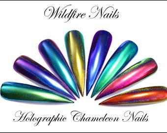 Holograhic Metallic Duo-Chrome Chameleon Powder Colour-Changing Nail Art Salon Chrome Powder