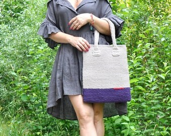 Crochet Tote/Handmade Bag/Everyday bag/Market Bag/Cotton Bag/Color Linen/Beach Bag/Recycled Ecru bag/Woman Bag/Woman Gift/Summer Bag