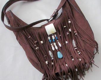Boho style purse with fringe
