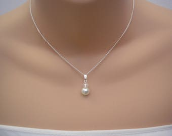 Lauren ~ Dainty Pearl and Crystal Pendant Necklace, Bridal Bridesmaid Wedding Prom (15f)