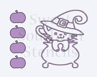 Halloween Witch Kitty PYO Cookie Stencil