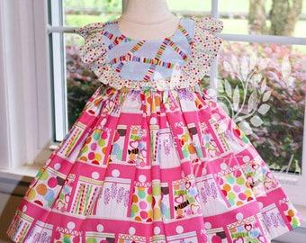 Girls Candy In A Jar dress- Sweet Shop Dress- Candy Sweets Dress- Birthday Dress- Summer- Toddler Girls Dress- Size 2t, 3t, 4t, 5,6,7,8