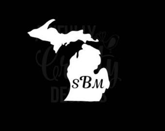 Michigan monogram decal, personalized decal, vinyl car decal, vehicle sticker, window decal, Michigan gift, made in Michigan, gift for her