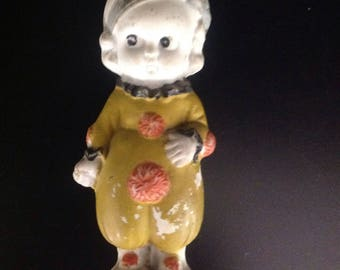 Vintage Frozen Charlotte Bisque Penny Doll in Clown Suit