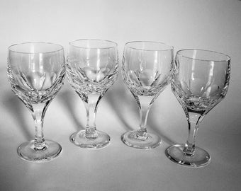 4 Atlantis Evora 8 oz. Crystal Water Goblets by Atlantis - Heavy Cut Crystal Water Glasses ca. 1980s - Stemware