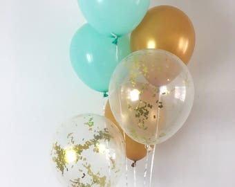 Mint and Gold Confetti Latex Balloons Mint and Gold Party Mint Bridal Shower Balloons Baby Shower Mint and Gold Party Supplies Mint to Be