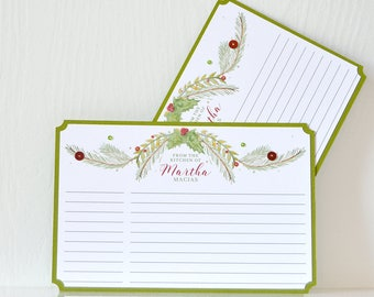 Watercolor Wreath Recipe Cards:  Red, white & green personalized note cards, gift for mom, gift for her, stationary, cooking  - LRD001RE