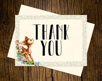 Woodland Thank You Note Cards Custom Printed Handmade Stationery Set of 12 Forrest Animals Baby Deer Vintage Ecru