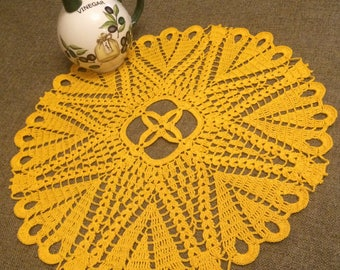 Yellow crochet delicate round doily, great gift and awesome rustic home decor