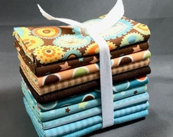"SUMMER SALE Mod-Tod Fat Quarter Bundle by Sheri Berry Designs for Riley Blake ~ 10 Brown & Blue 8""x22"" PreCut 100% Cotton Quilt Pieces"
