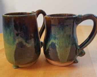 Hand thrown ceramic Matching large blue and green mugs