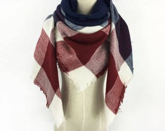 Mothers Day Gift Plaid Scarf Blanket Scarf Blanket Scarf Plaid Burgundy Scarf Tartan Scarf Blue Blanket Scarf Oversized Scarf Winter Scarf