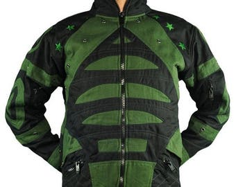 SALE 40% OFF Space Jacket ~ Black and Green ~ FLower of Life by Pleiadians