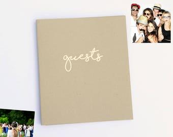 Fast Shipping > Wedding Guest Book. Rustic Wedding, Beach Wedding, Embossed Rose Gold Wedding Decor. Instax Guest Book, Polaroid Guest Book.