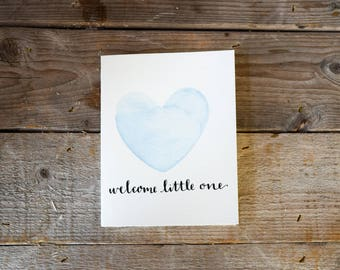 Baby Card Blue, Boy Baby Card, Pregnancy Card, Congratulations Baby Card, Welcome Baby Card, baby shower card, watercolor baby